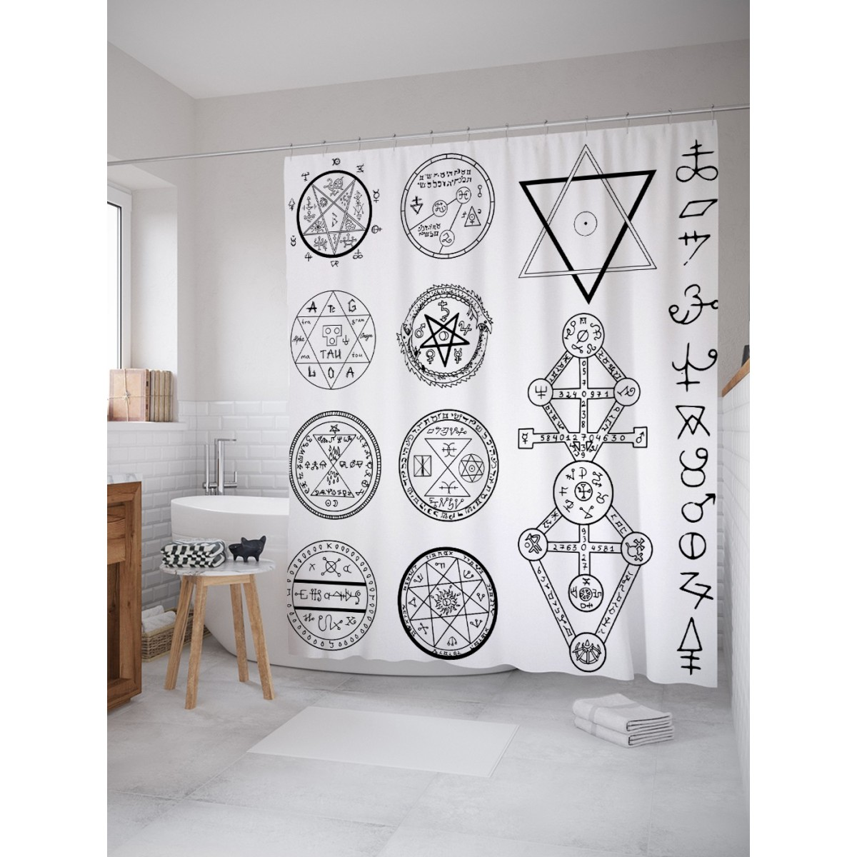 Шторка для ванной Символы с пентаграммами 180х200 см sc_19368