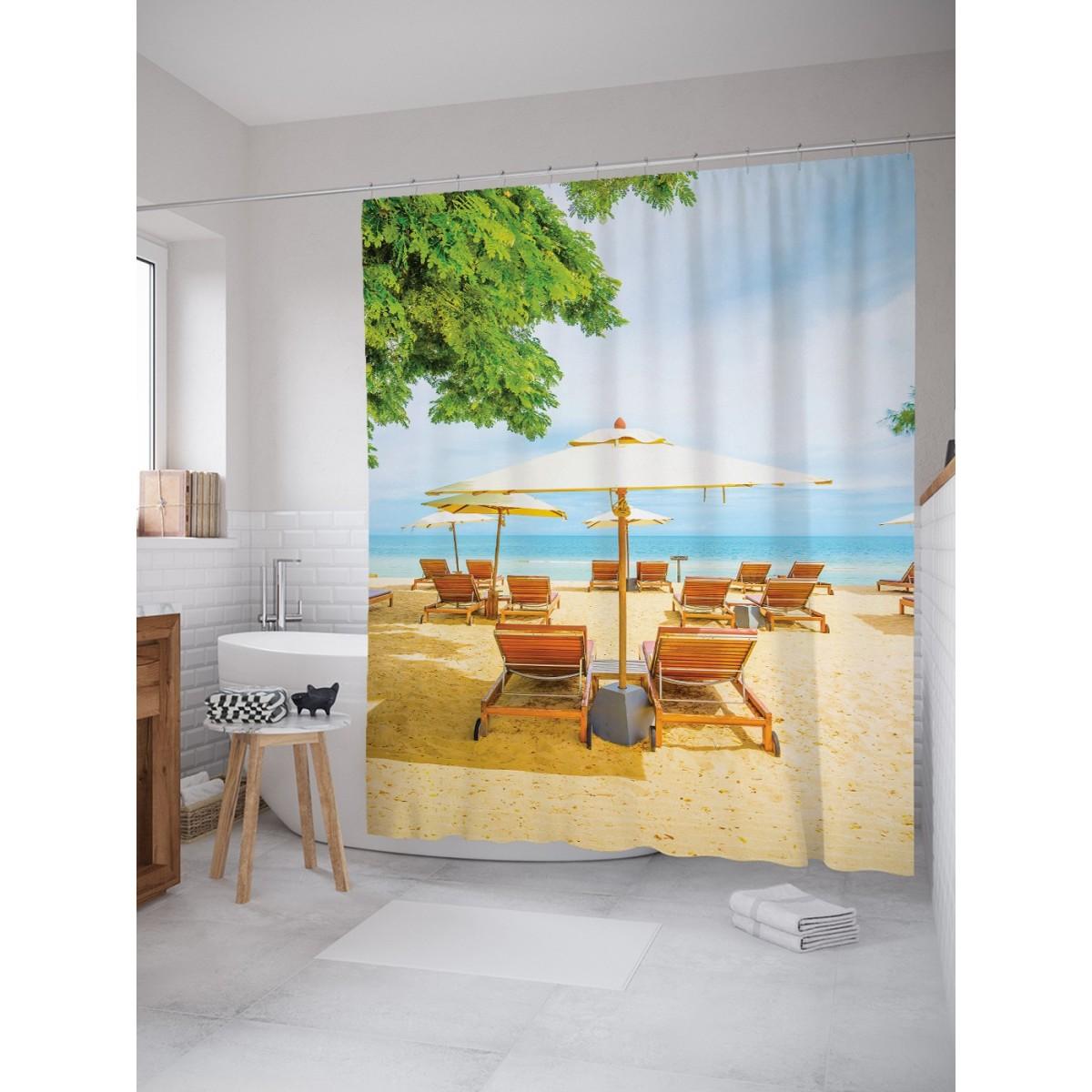 Шторка для ванной Пустующий пляж 180х200 см sc_9359