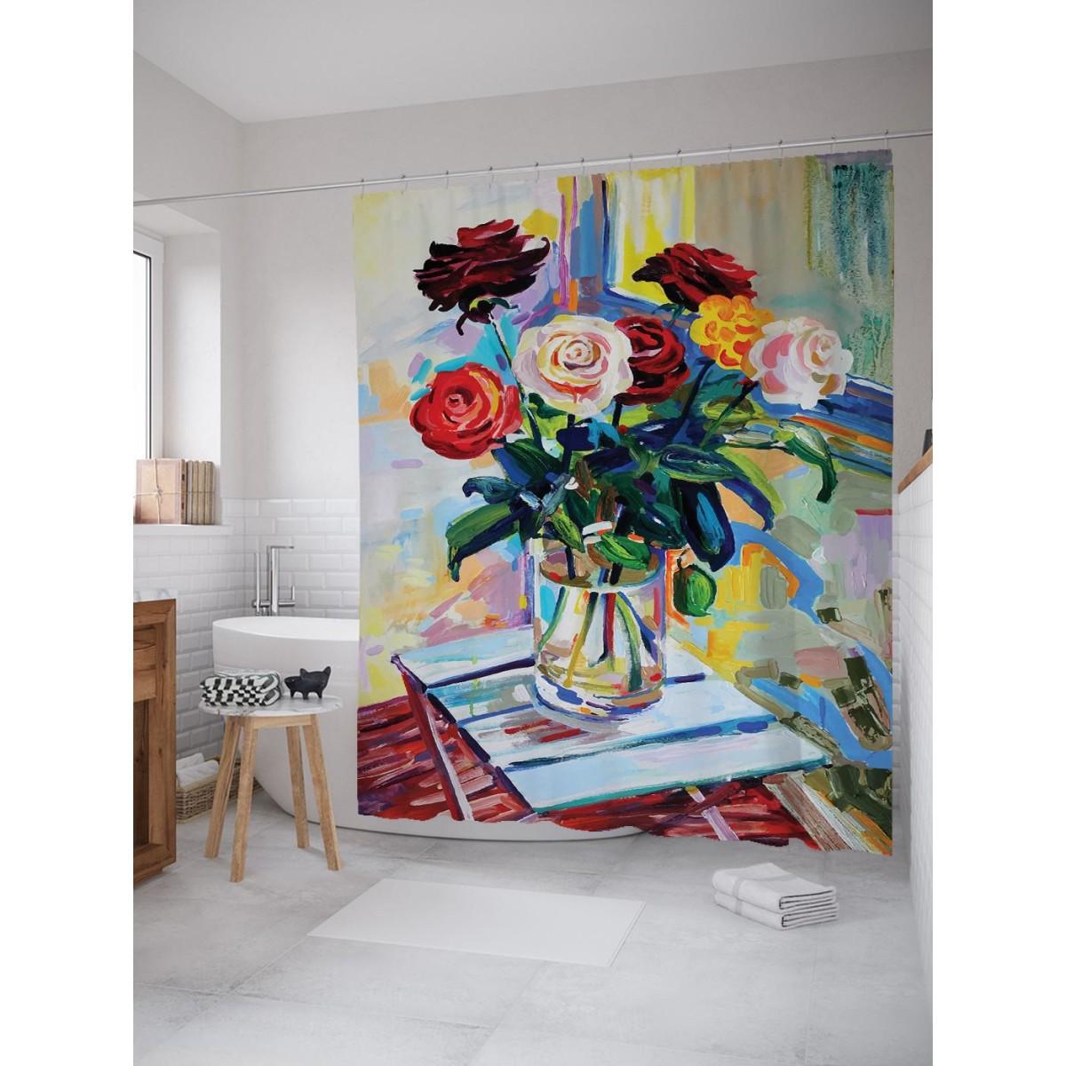 Шторка Для Ванной Цветочный Натюрморт 180Х200 Sc_72065