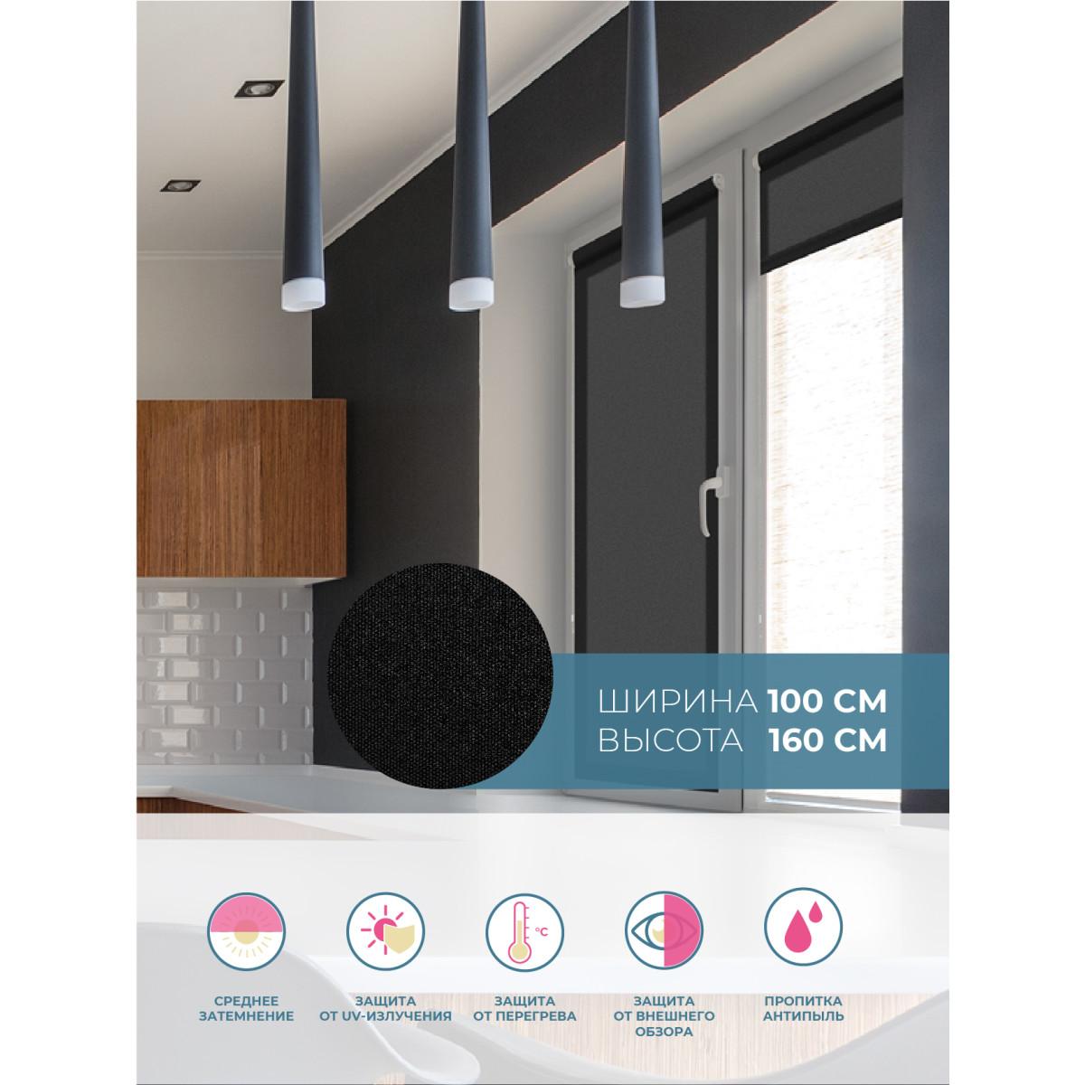 Рулонная Ора Decofest Плайн 100Х160 Цвет Черный