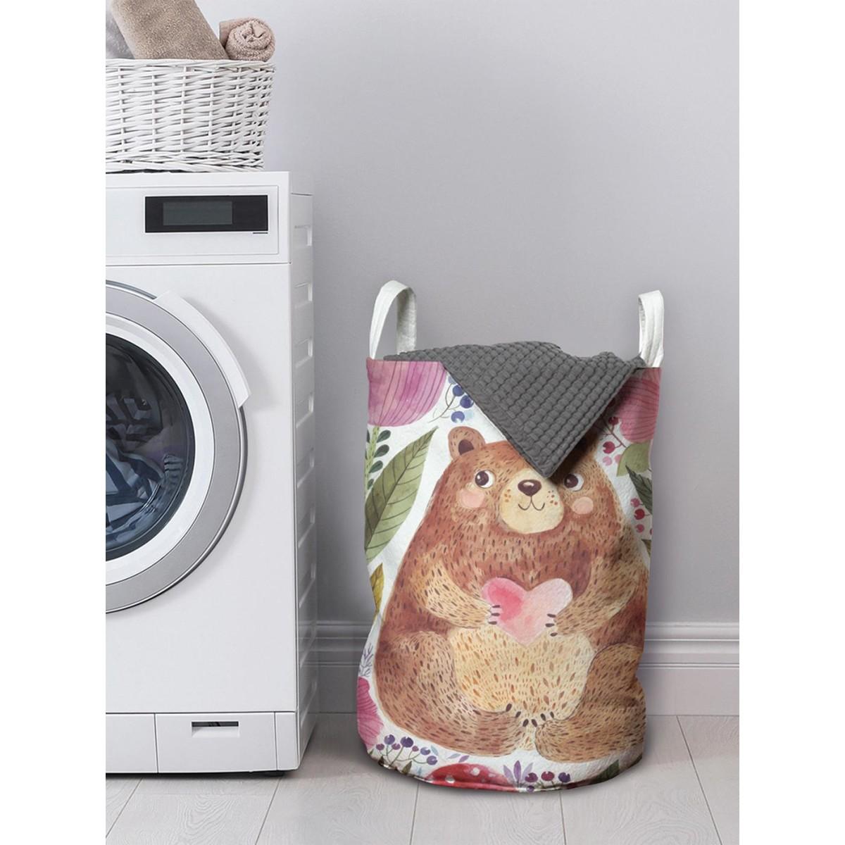 Корзина для хранения вещей Добрый медведь в цветах 35x50 см