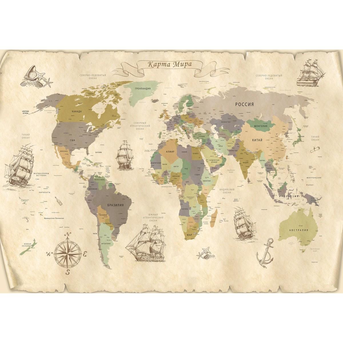 Фотообои МИР Карта мира MIR-12017-V4 380х270 см