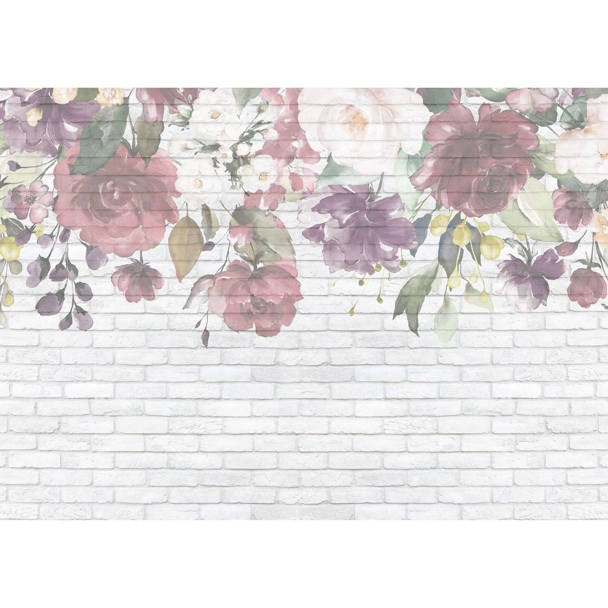 Фотообои МИР Кирпичная стена с цветами MIR-6052-V4 380х270 см