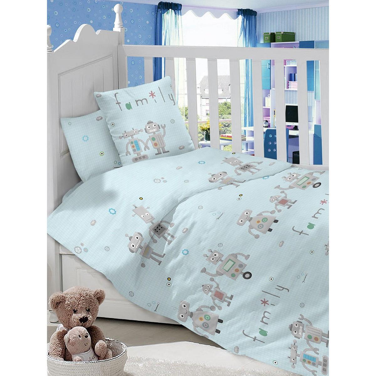 Детское постельное белье Текстильная лавка Роботы бязь