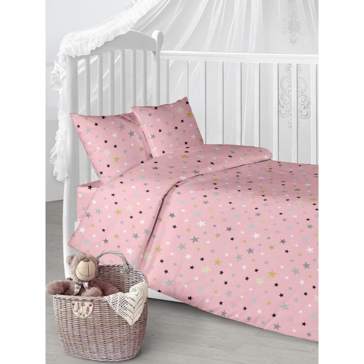 Детское постельное белье Текстильная лавка Звезды на розовом бязь