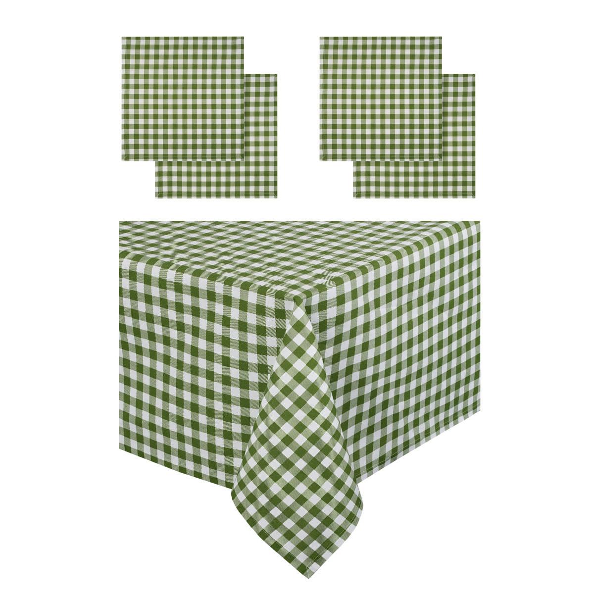 Набор из салфеток и скатерти Guten Morgen Клетка зеленая НКклзел-140-180-40-40-4