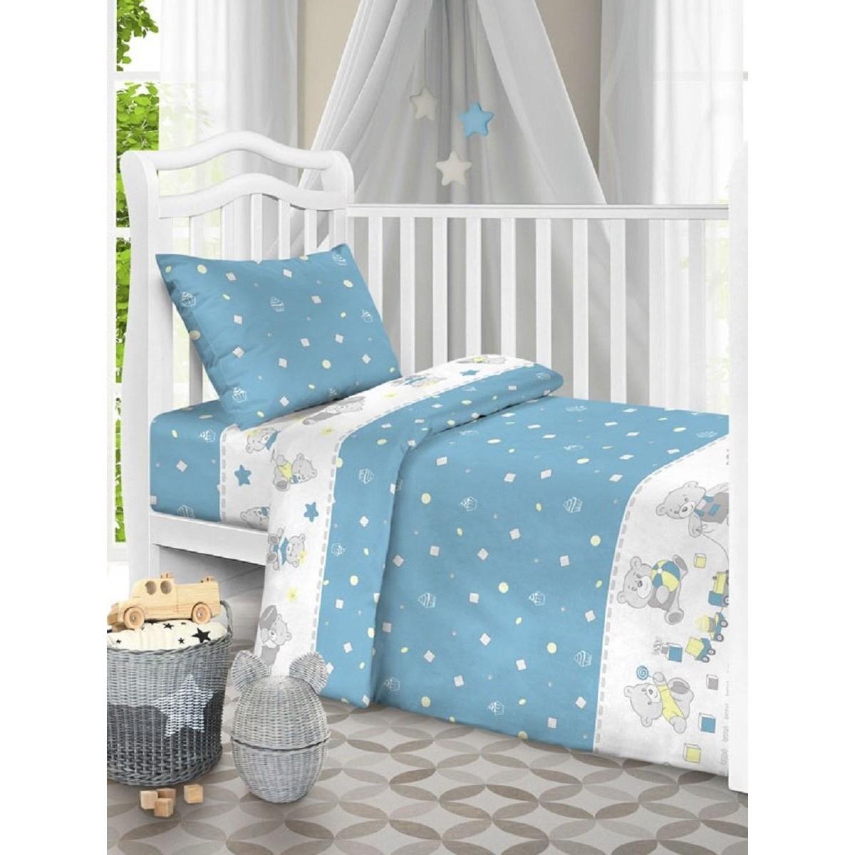 Комплект Постельного Белья Текстильная Лавка Мишки Бязь Цвет Голубой 3 Предмета
