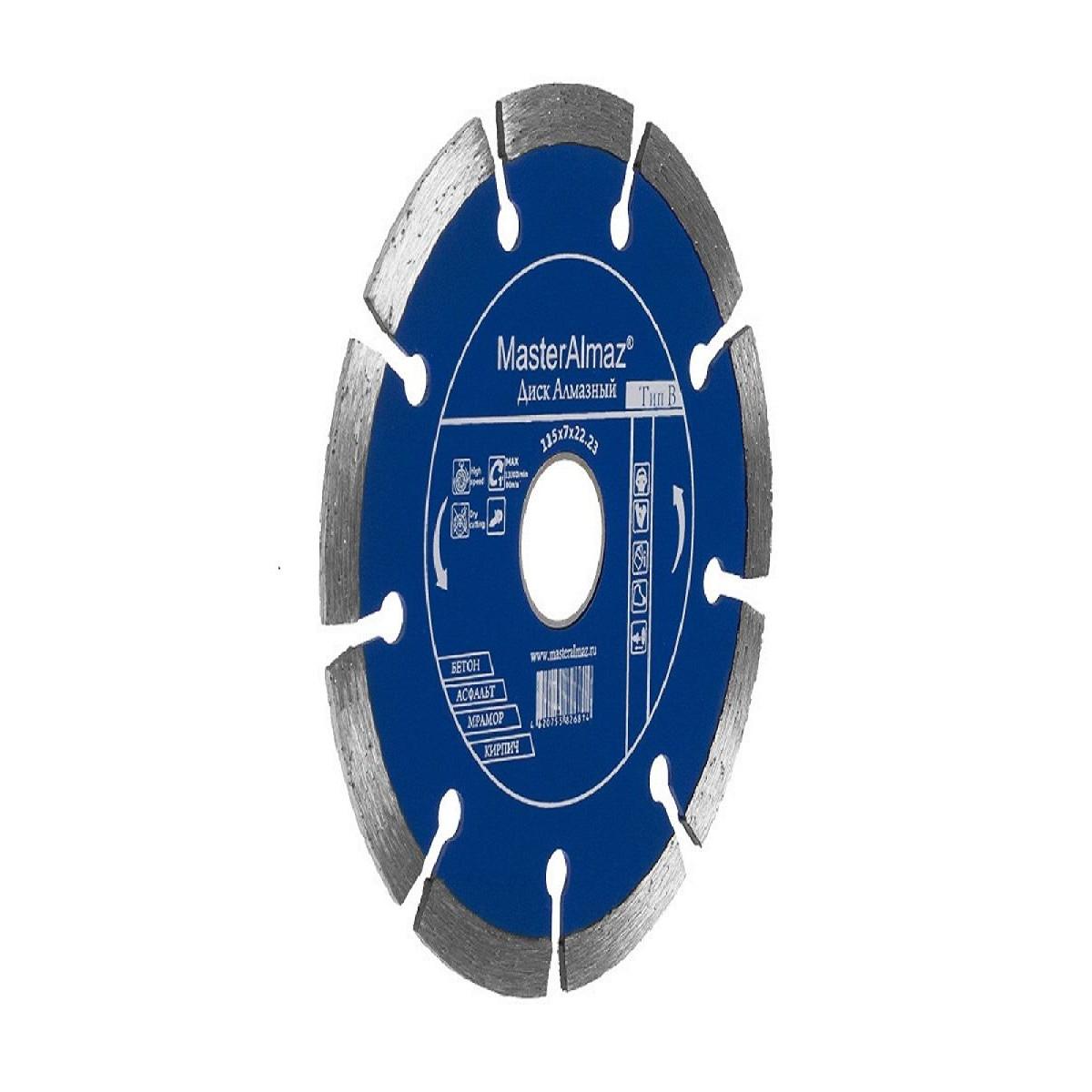 Диск Алмазный Мастералмаз Standard (Тип В) 115Х7Х2223 По Бетону Сегментный