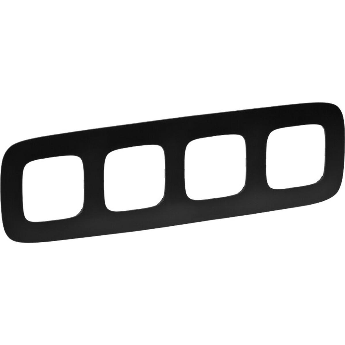 Рамка для розеток и выключателей Legrand Valena ALLURE 4 поста цвет матовый черный