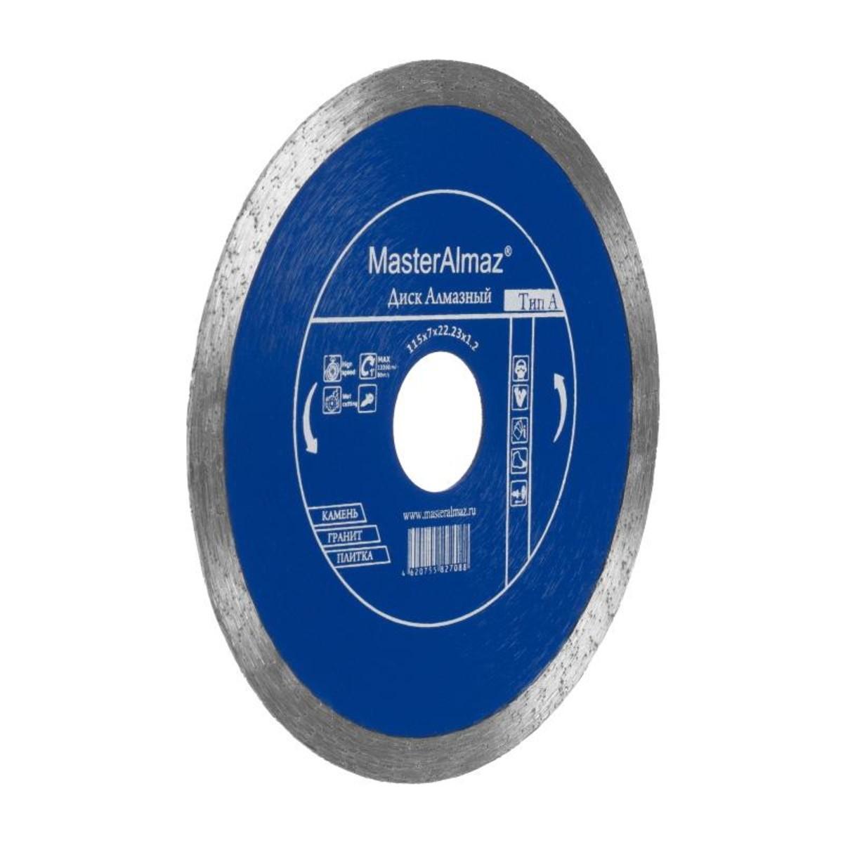 Диск Алмазный Мастералмаз Pro (Тип А) 115Х7Х2223Х12 По Камню И Керамике Сплошной