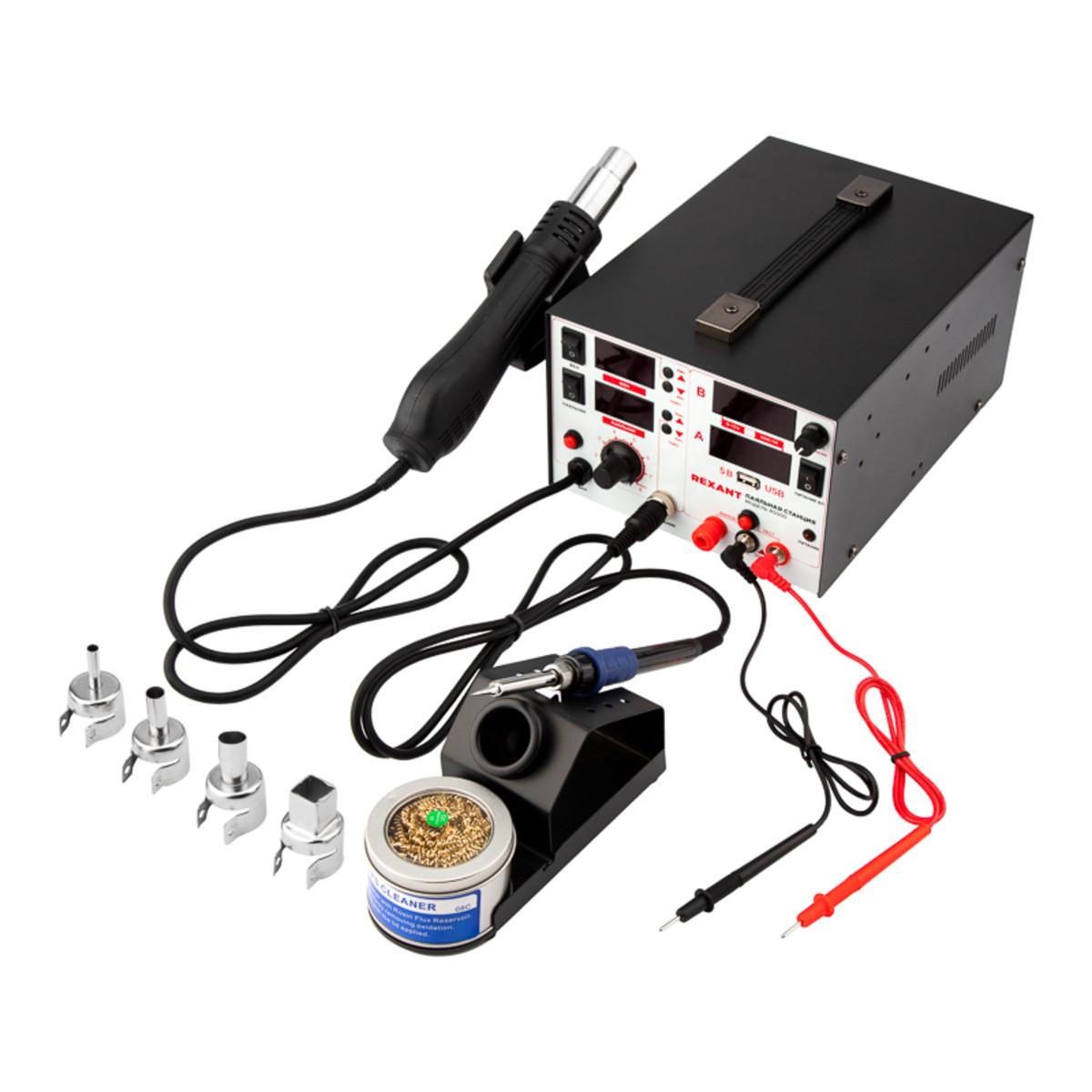 Паяльная станция Rexant 850 Вт с термофеном и цифровым дисплеем 12-0729