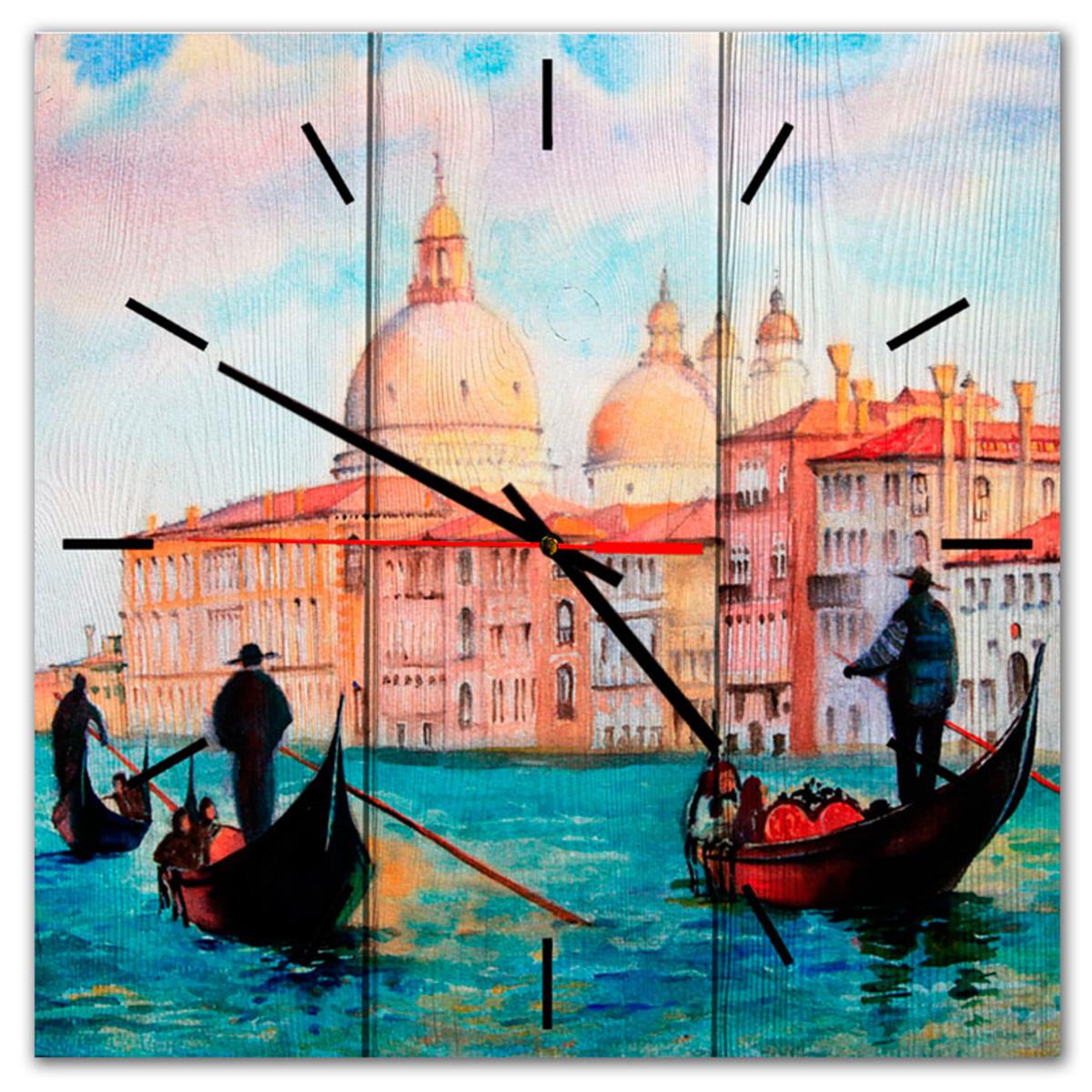 Настенные часы Дом Корлеоне Лодочники в Венеции 50х50 см