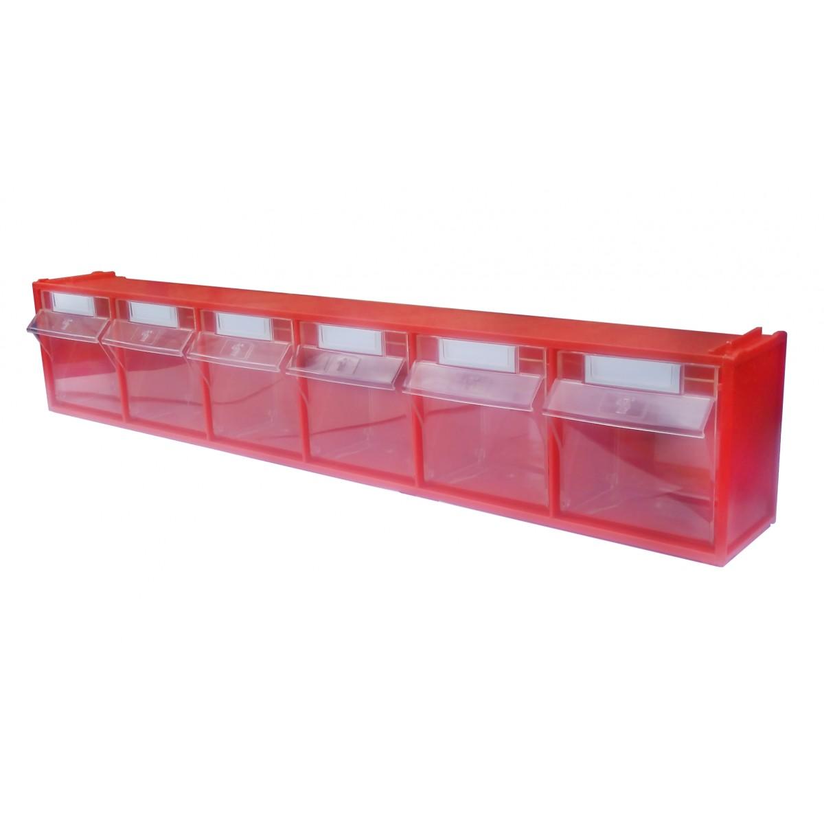 Короб откидной Стелла-техник СТЕЛЛА-102 (600 х 96 х 112h) 6 ячеек красный / прозрачный