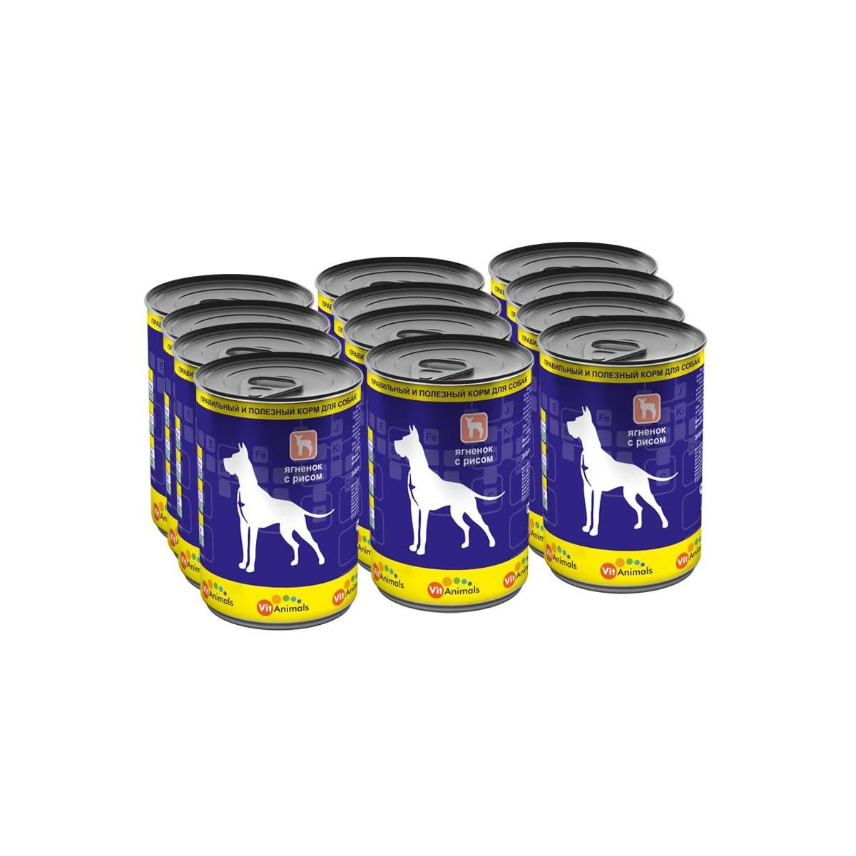 Консервы для собак VITANIMALS Ягненок с рисом 410 г 1 шт.