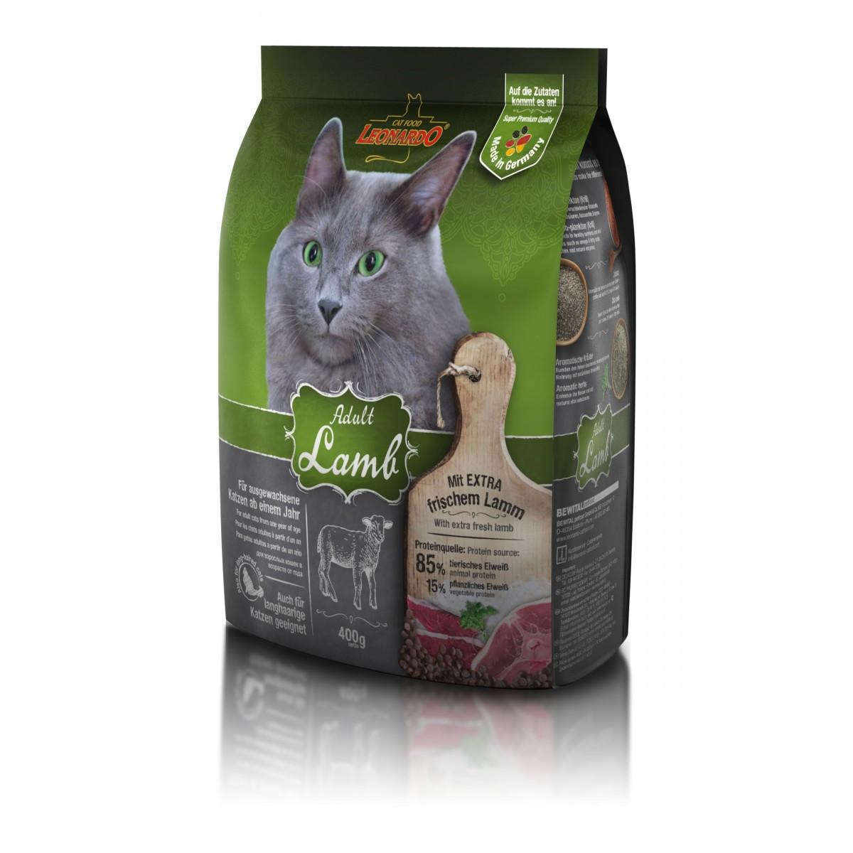 Сухой корм для взрослых кошек Leonardo Adult Sensitive Ягненок/рис при чувствительном пищеварении 400гр