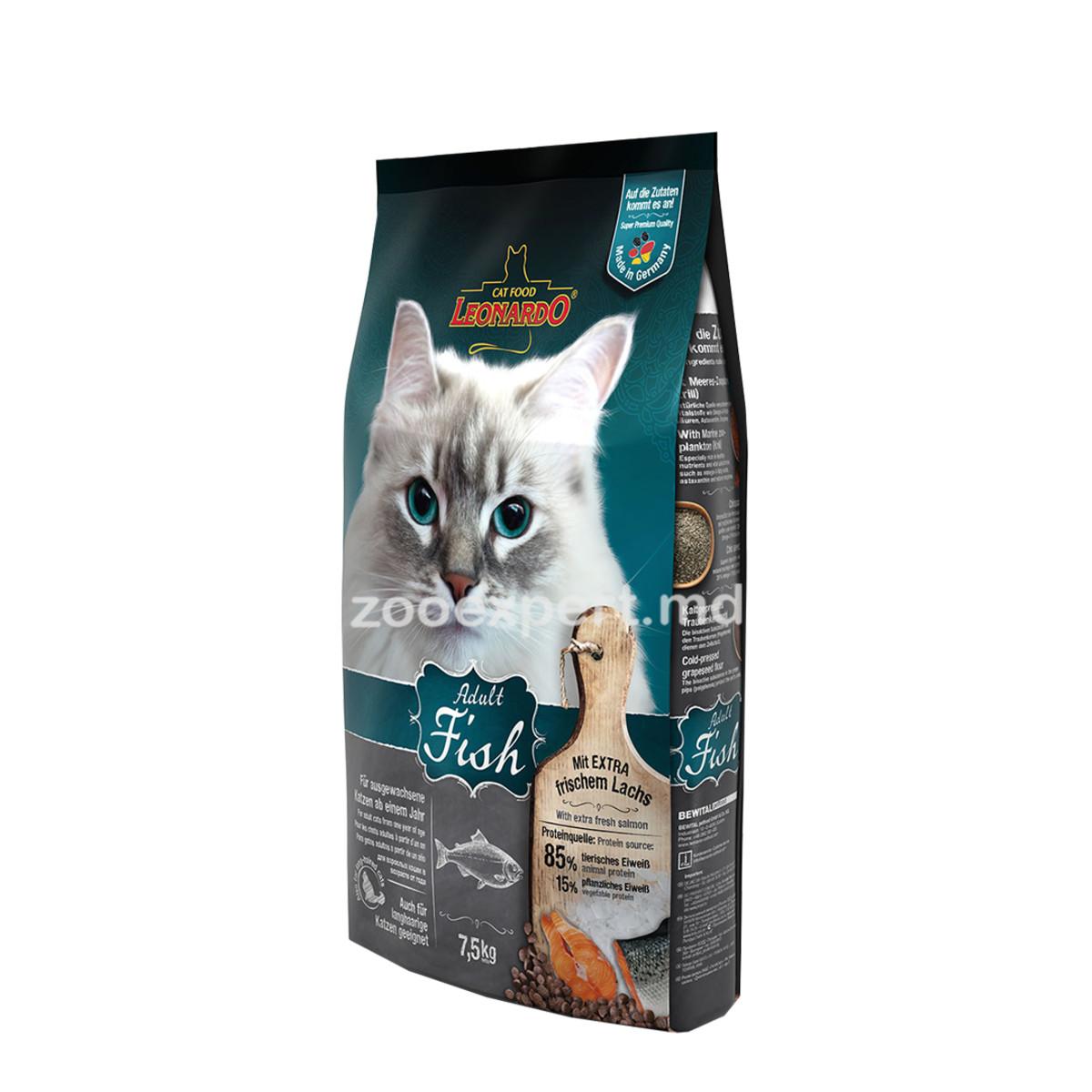Сухой корм для взрослых кошек Leonardo Adult Sensitive Рыба/рис для здоровья кожи/шерсти 75кг