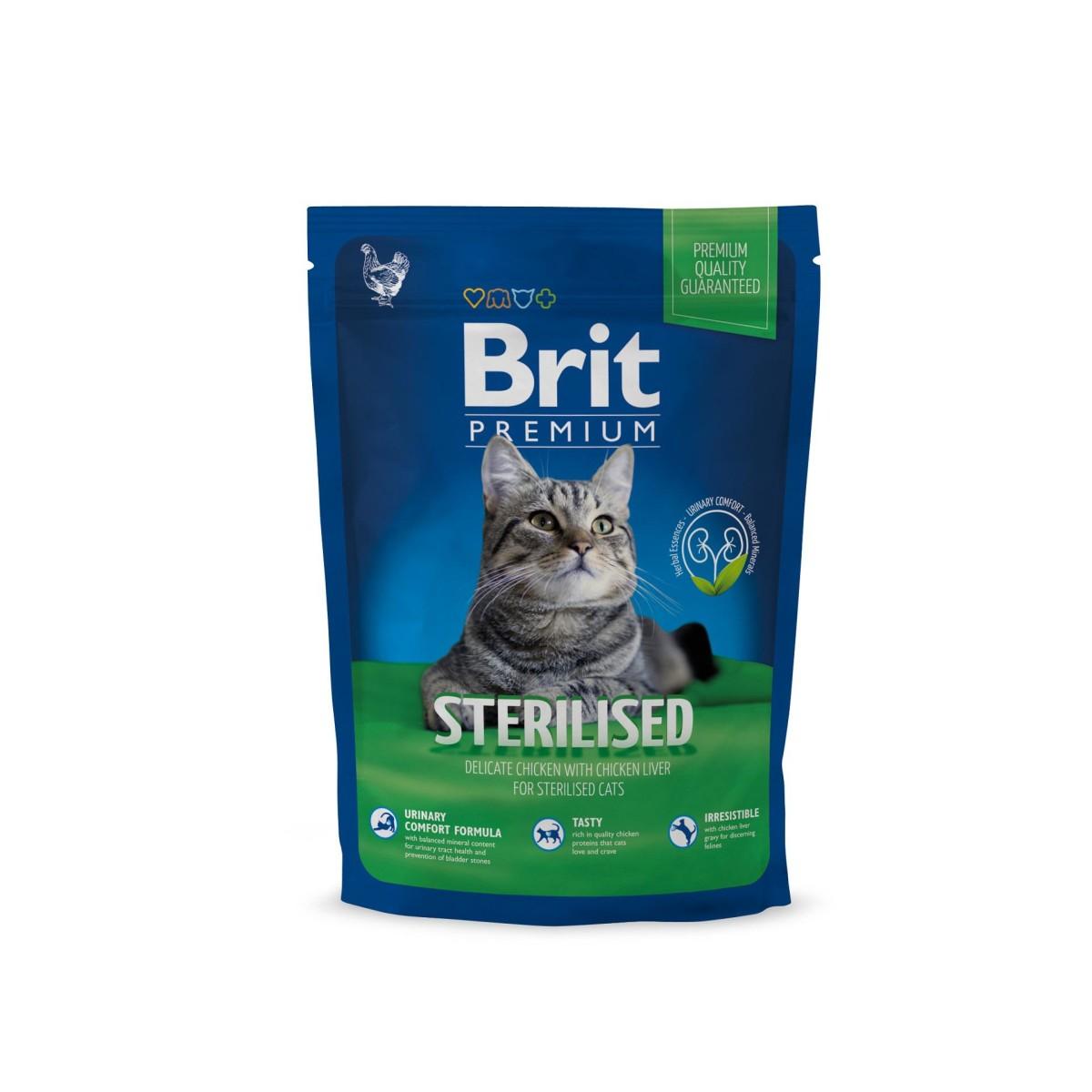 Сухой корм для кастрированных котов BRIT Premium Cat Sterilized Курица Печень 1.5 кг