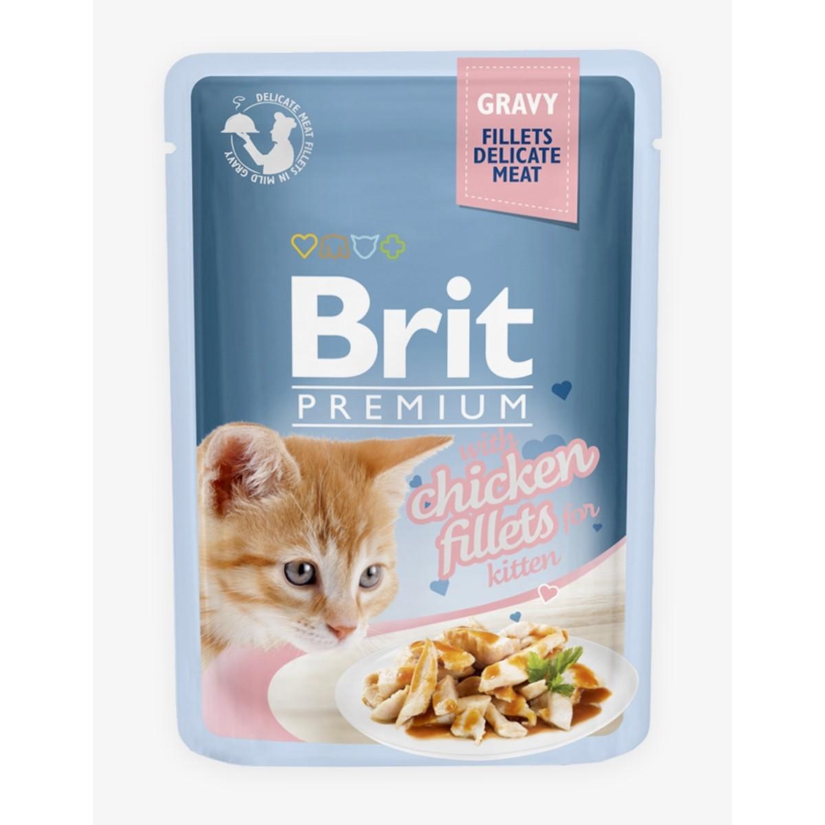Влажный корм для котят BRIT Premium Gravy Chiсken fillets for kitten Кусочки Куриного филе в соусе 85 г 24 шт.