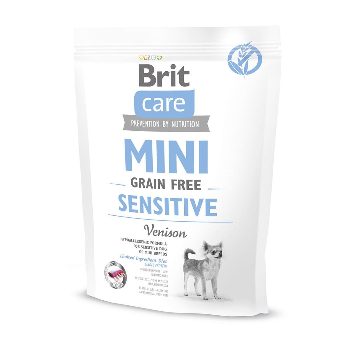 Сухой корм для собак мини-пород с чувствительным пищеварением склонных к аллергии BRIT Care Mini GF Sensitive беззерновой 400 г