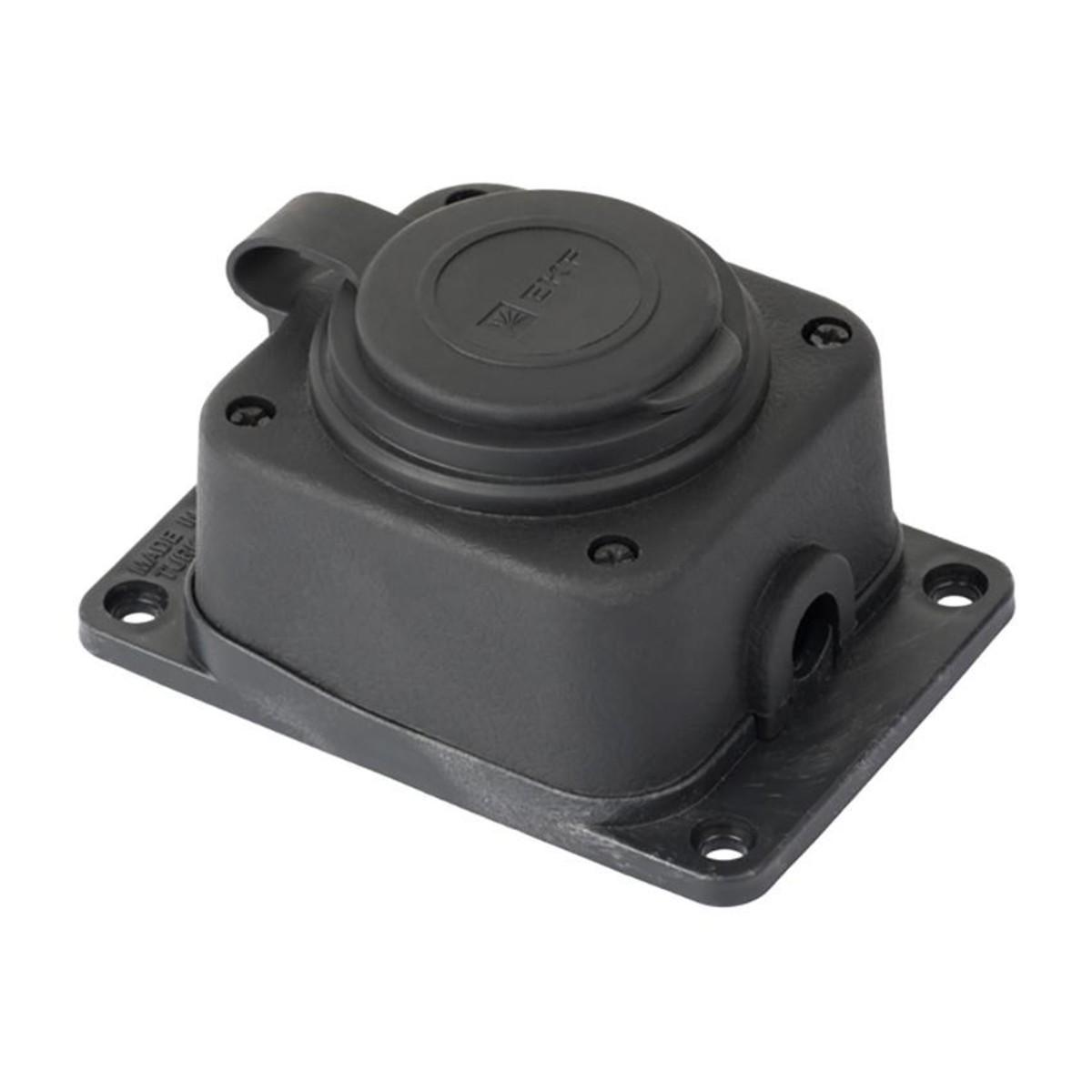 Роз. одномест. с защит. крышкой каучуковая 230В 2P+PE 16A IP44 EKF PRO