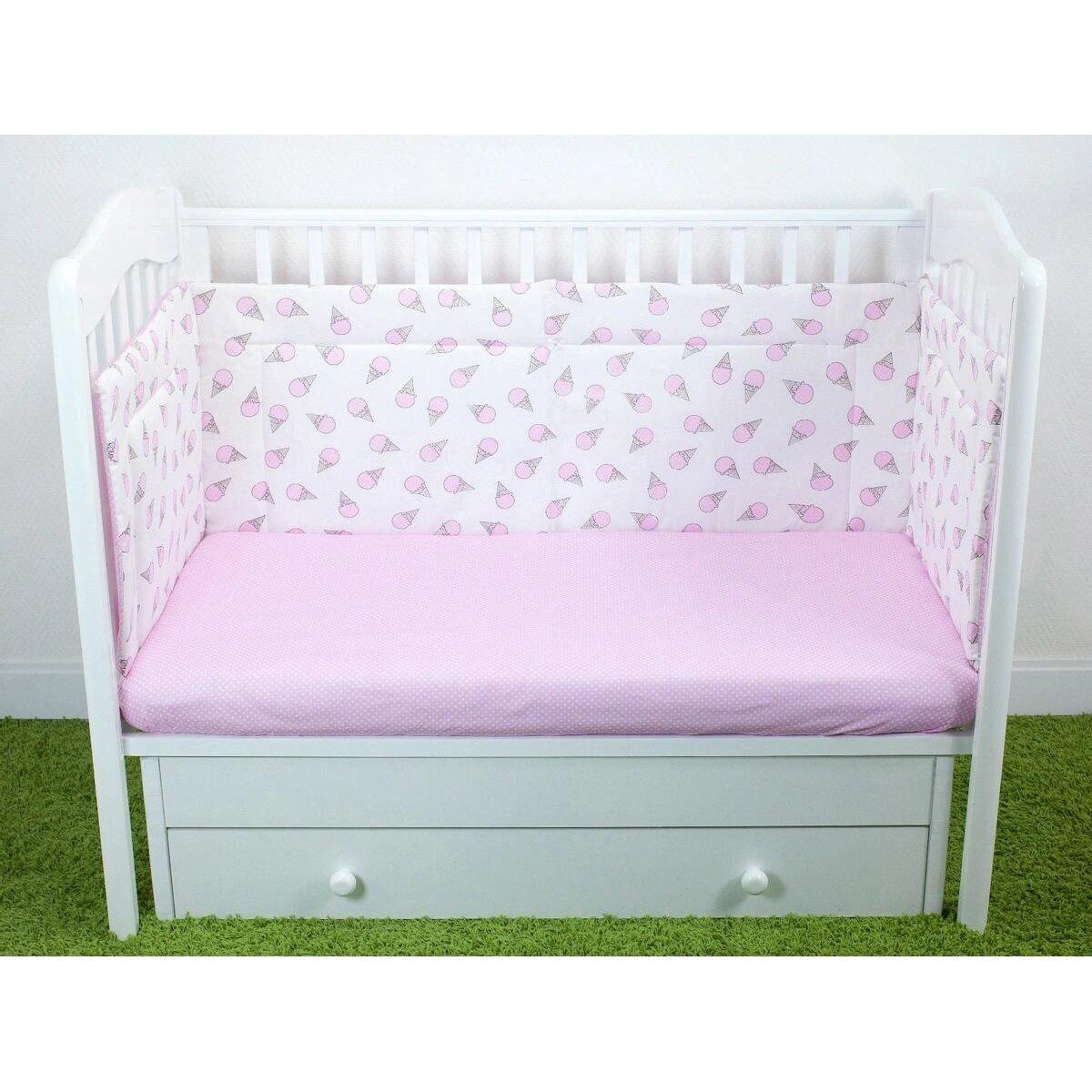 Бортик для детской кроватки Magic City Розовый десерт БК-ББ-003/35