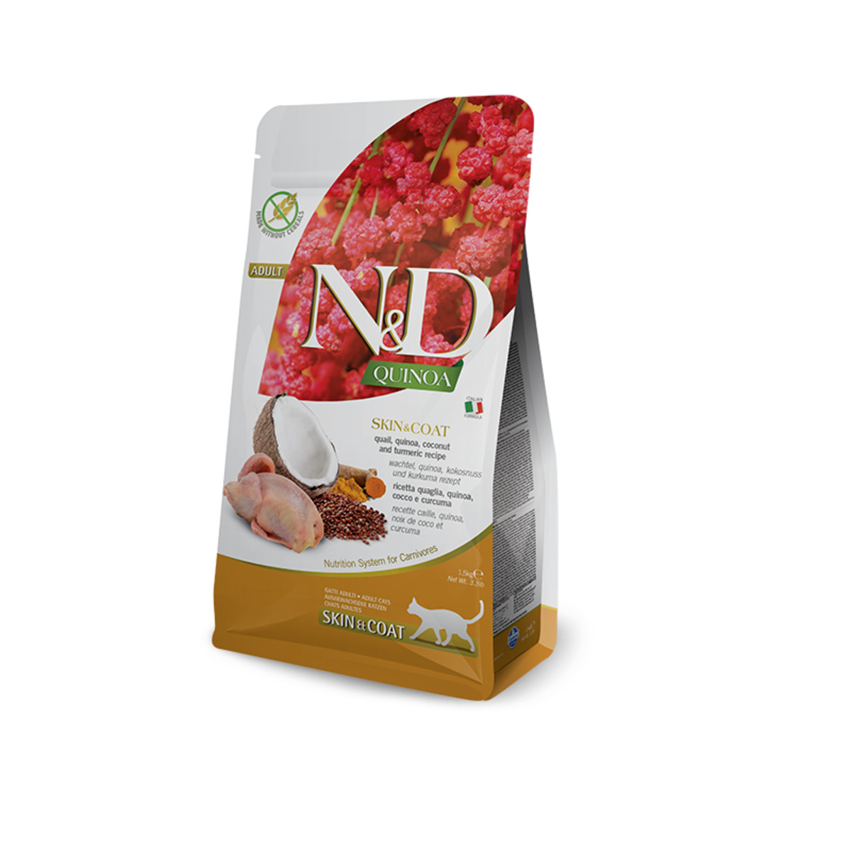 Сухой корм для кошек для здоровья кожи и шерсти FARMINA N&D беззерновой Перепел Киноа Кокос Куркума 5 кг