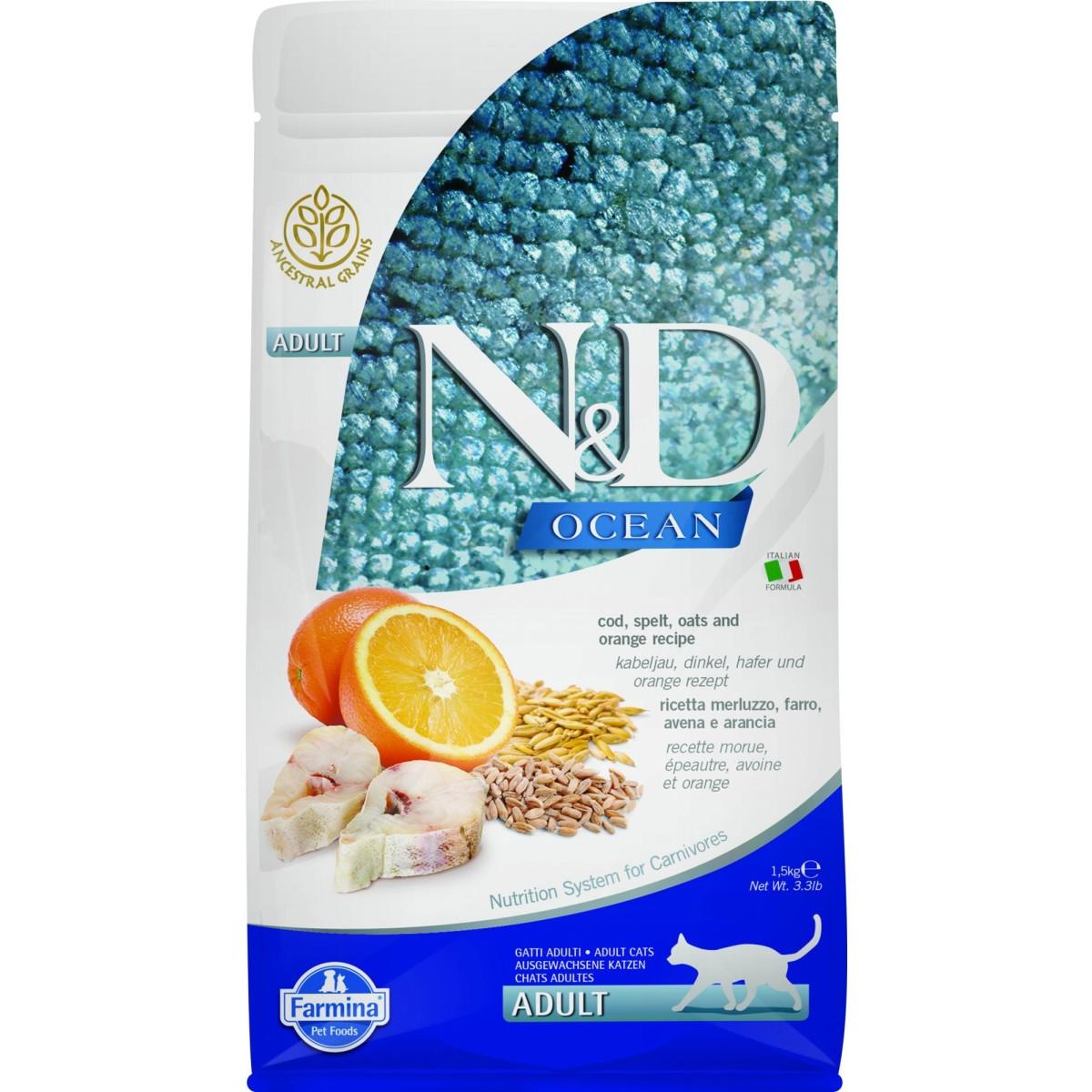 Сухой корм для кошек всех пород FARMINA N&D Ocean LG Треска с Апельсином 1.5 кг