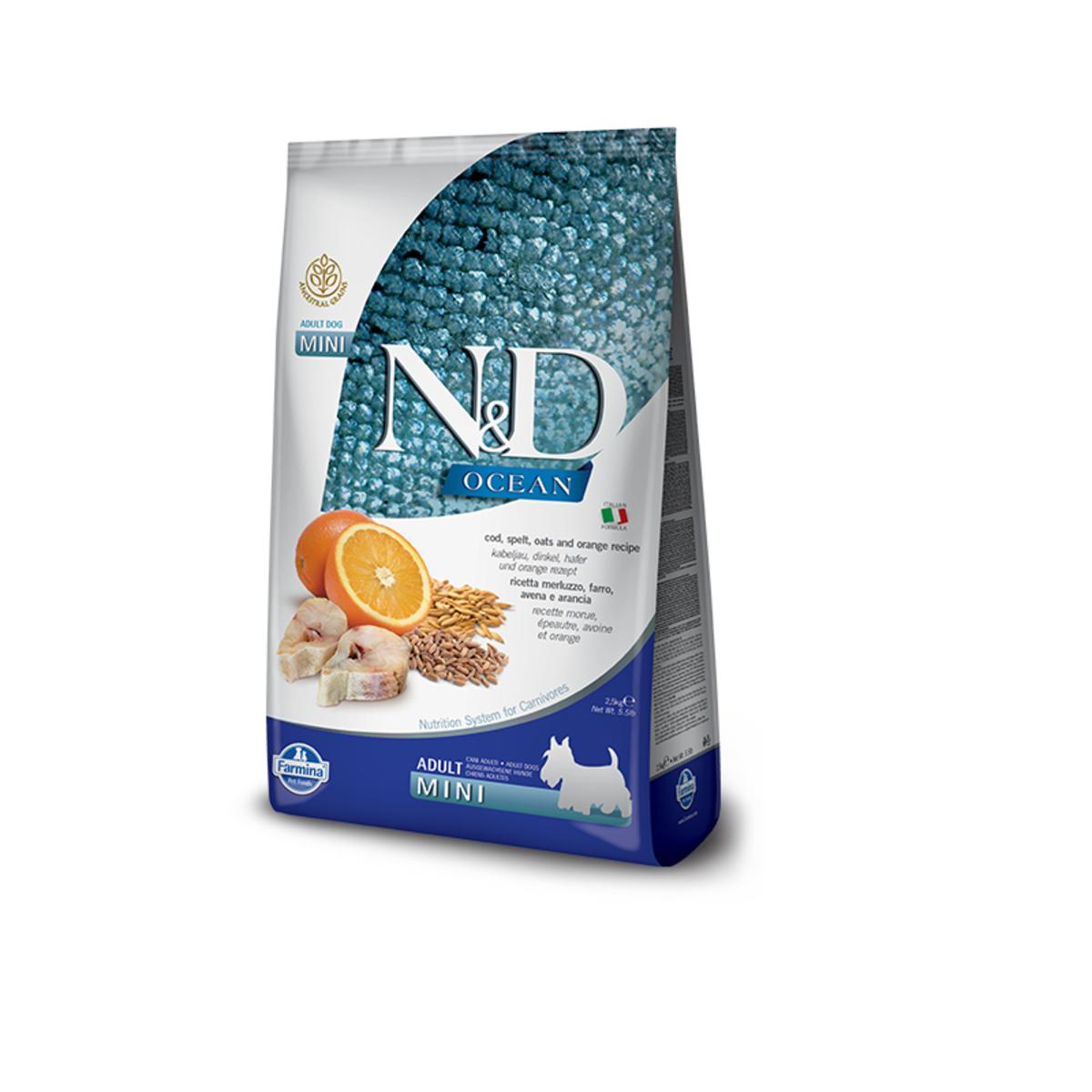 Сухой корм для собак мелких пород FARMINA N&D Ocean Треска Спельта Овес и Апельсин 800 г