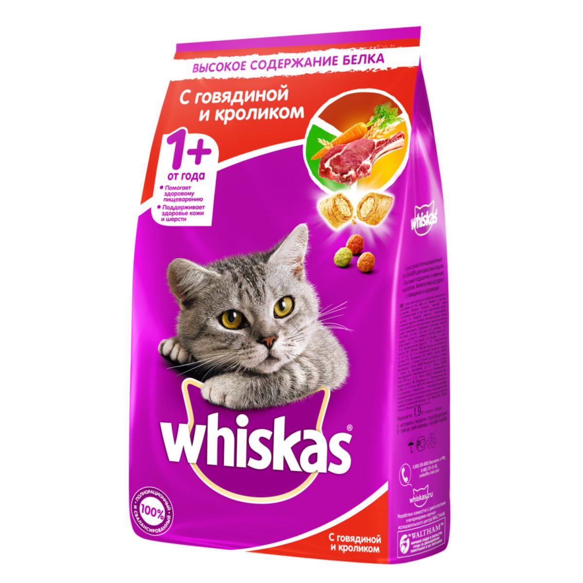 Сухой корм WHISKAS для кошек Подушечки с паштетом. Ассорти с говядиной и кроликом 19кг