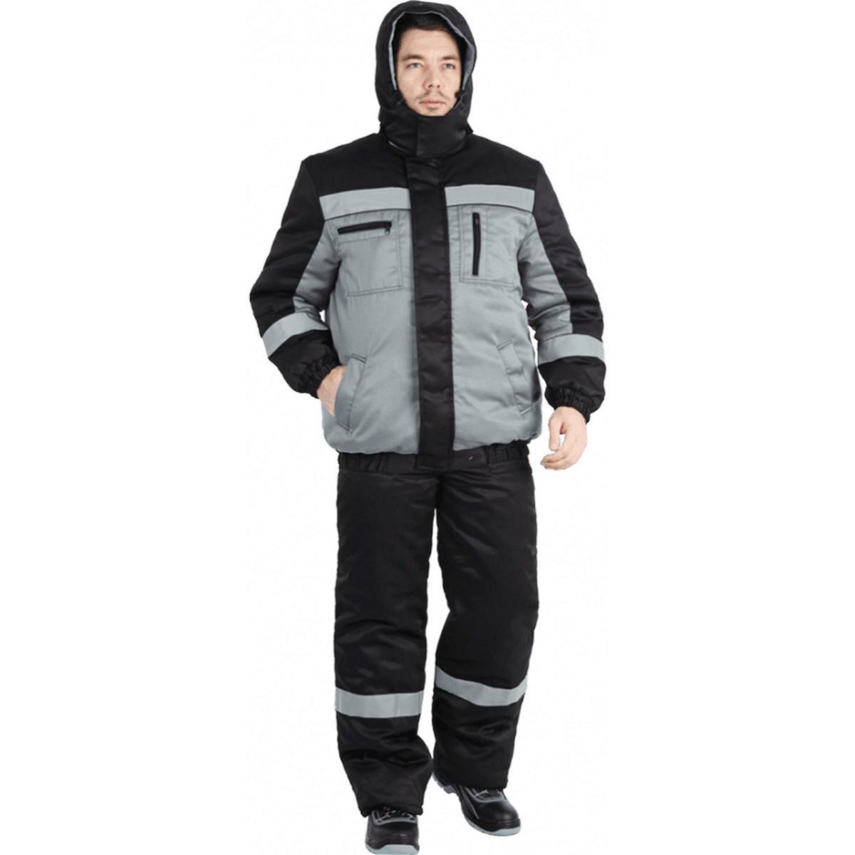 Костюм БАЙКАЛ утеплённый серый-чёрный (разм. 96-100 рост 170-176)