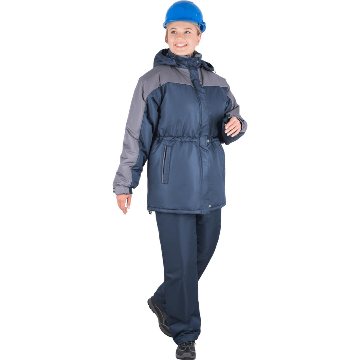 Костюм ВЕГА утеплённый т/синий-серый женский (разм. 112-116 рост 158-164)