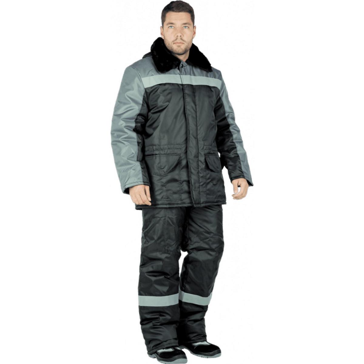 Куртка РЕГИОН утепленная черный-серый (разм. 88-92 рост 158-164)