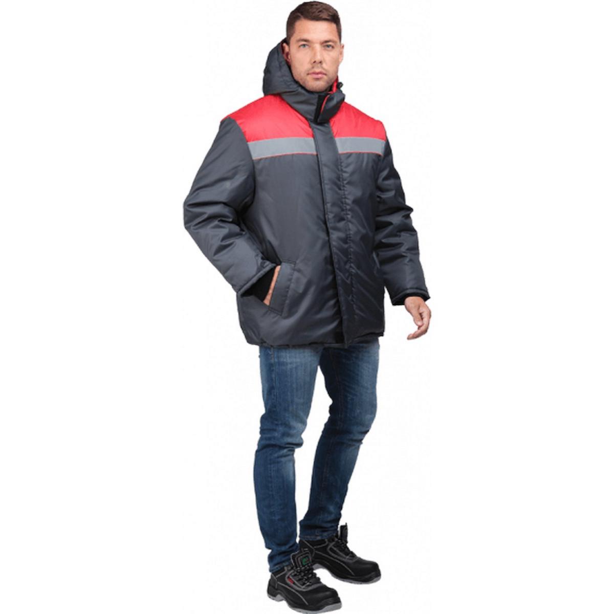 Куртка РАЙТ утепленная т/серый-красный (разм. 88-92 рост 170-176)