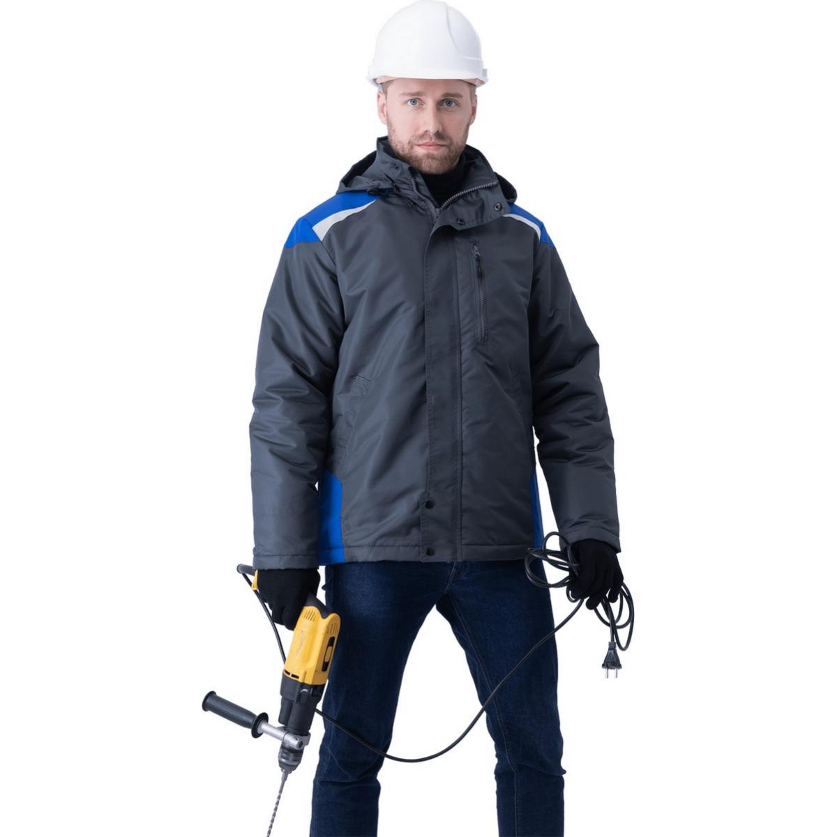 Куртка ШТУРМАН демисезонная серый-василек (разм. 96-100 рост 170-176)