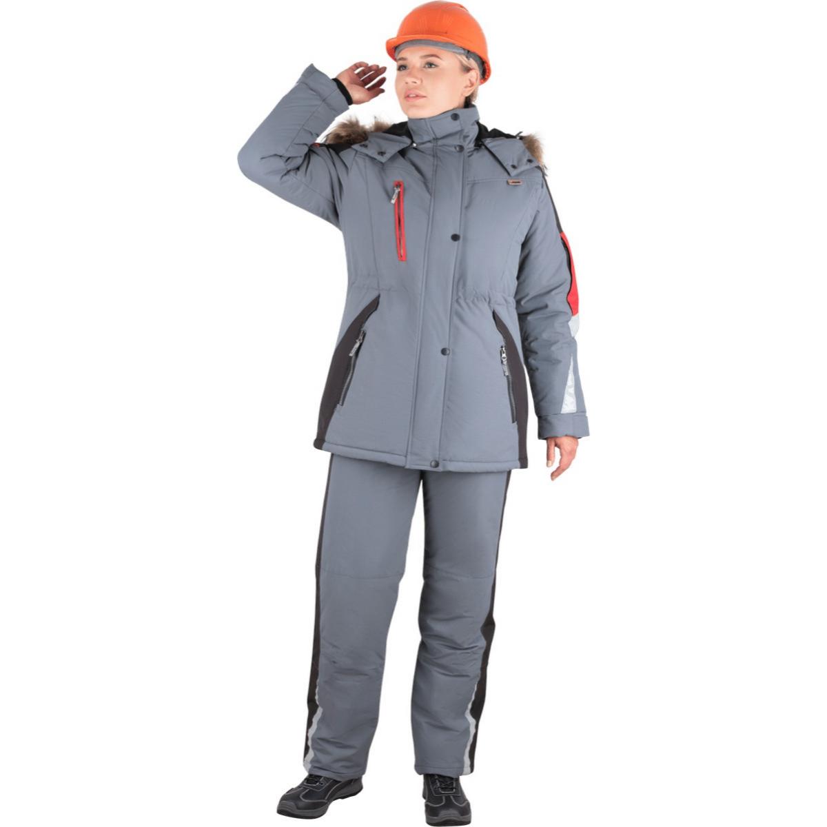 Куртка ХАЙ-ТЕК утепленная серый-красный-черный женская (разм. 112-116 рост 158-164)