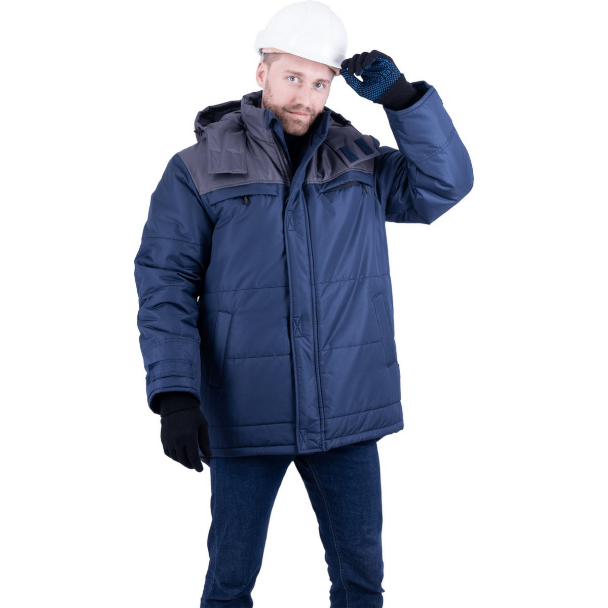 Куртка ШАТЛ утепленная  т/синий-серый (разм. 112-116 рост 170-176)