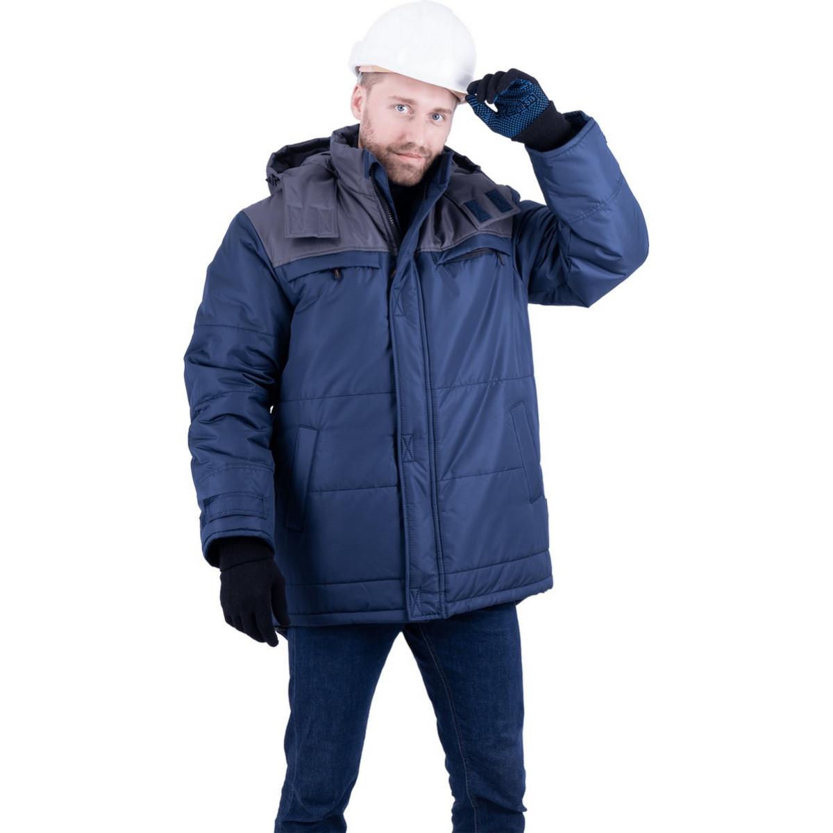 Куртка ШАТЛ утепленная  т/синий-серый (разм. 128-132 рост 182-188)
