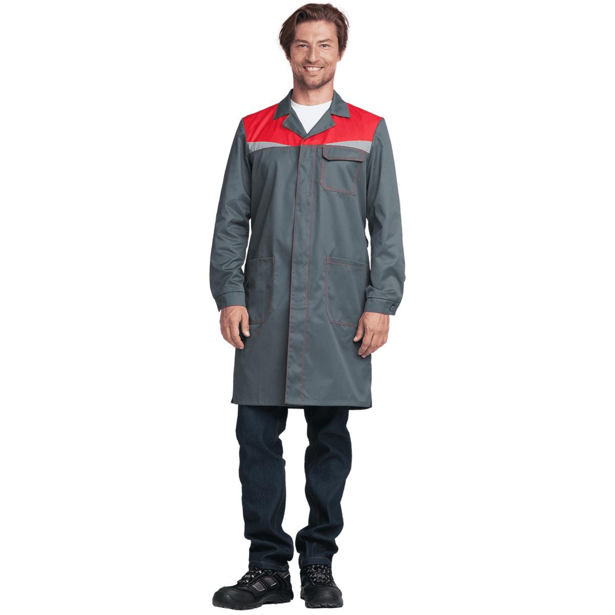 Халат КМ-10 ЛЮКС серый-красный (разм. 96-100 рост 158-164)