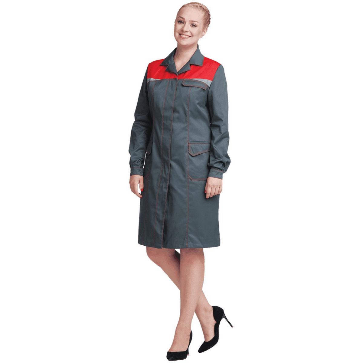 Халат КМ-10 ЛЮКС серый-красный женский (разм. 96-100 рост 158-164)