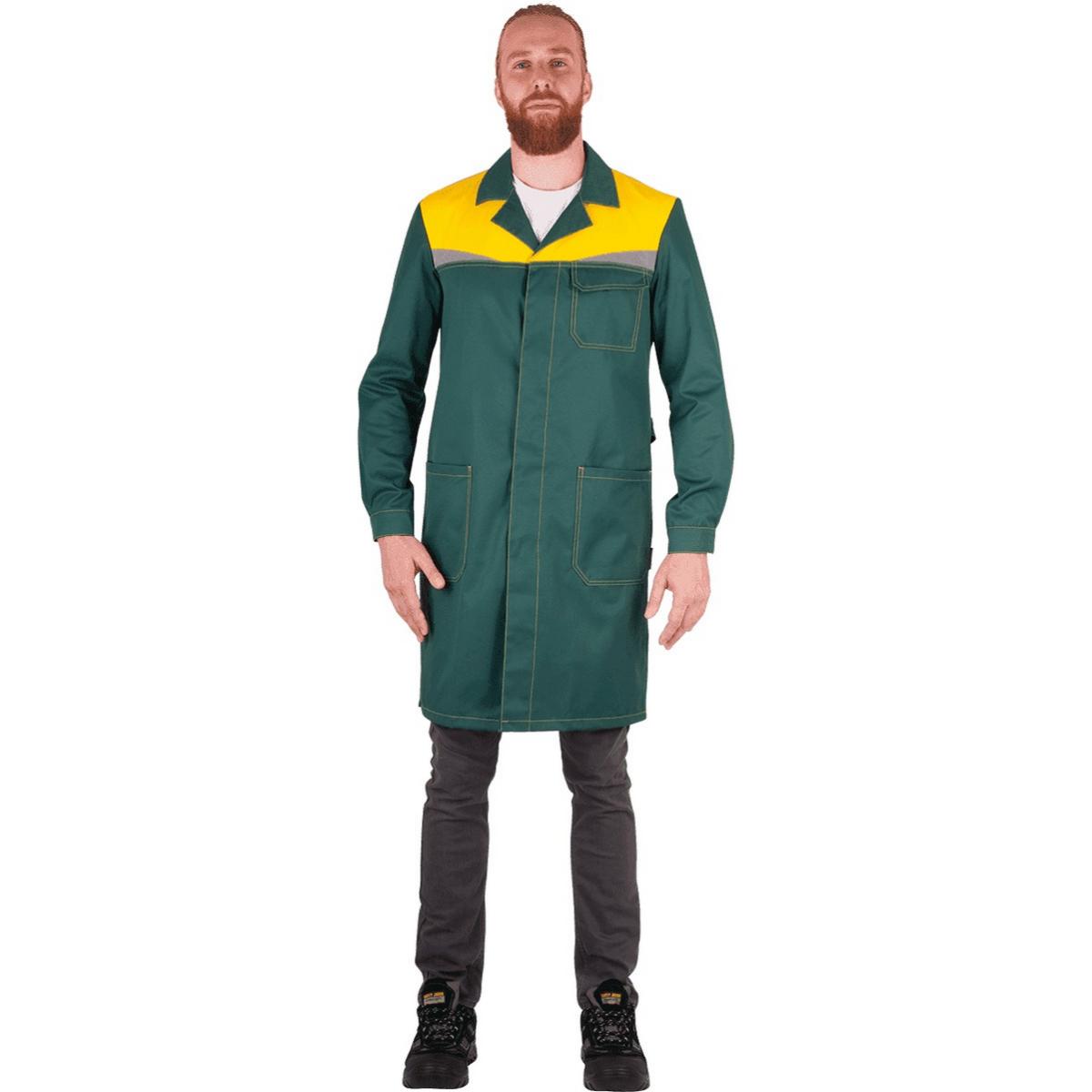 Халат КМ-10 ЛЮКС зеленый-жёлтый (разм. 88-92 рост 170-176)