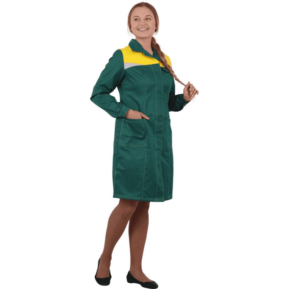 Халат КМ-10 ЛЮКС зеленый-жёлтый женский (разм. 80-84 рост 170-176)
