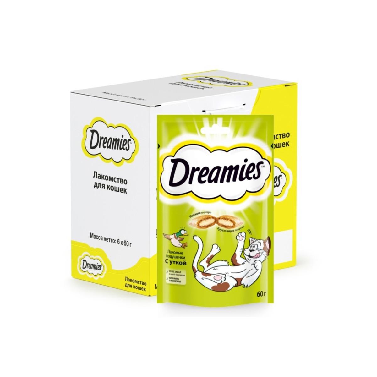 Лакомство для кошек Dreamies подушечки с уткой 6 шт по 60г