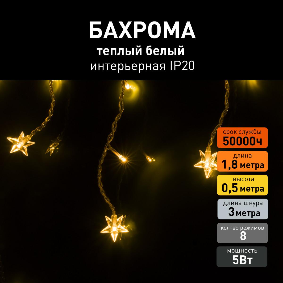 Гирлянда Eurosvet 100-002 теплый белый 64 лампочки