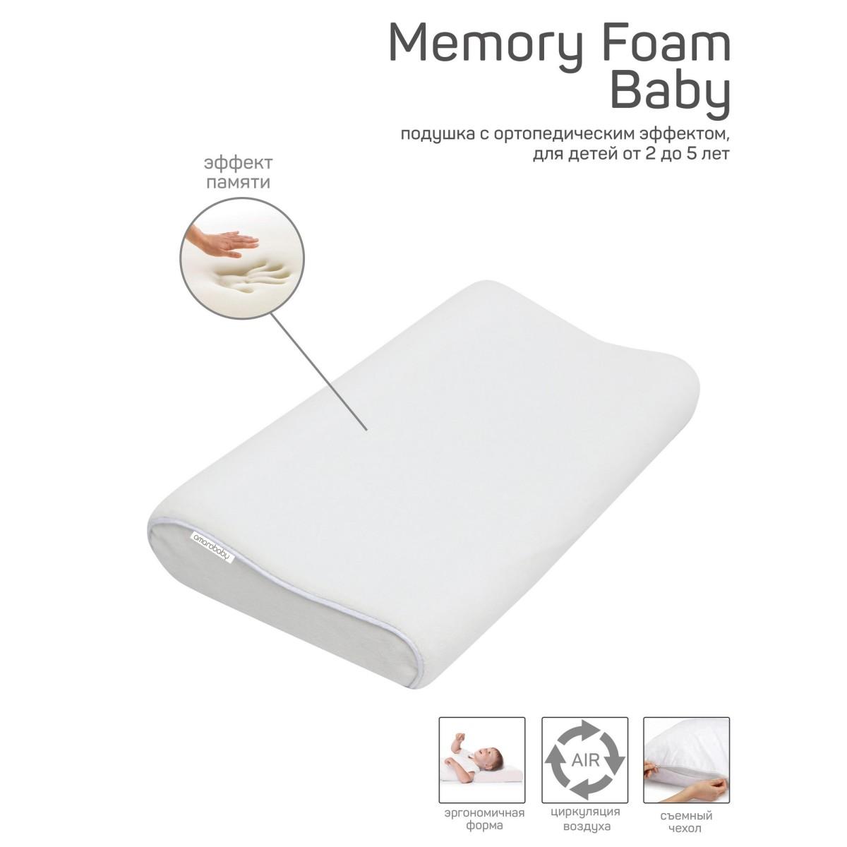 Подушка AmaroBaby Memory Foam AMARO-44MF-B 24х40 см