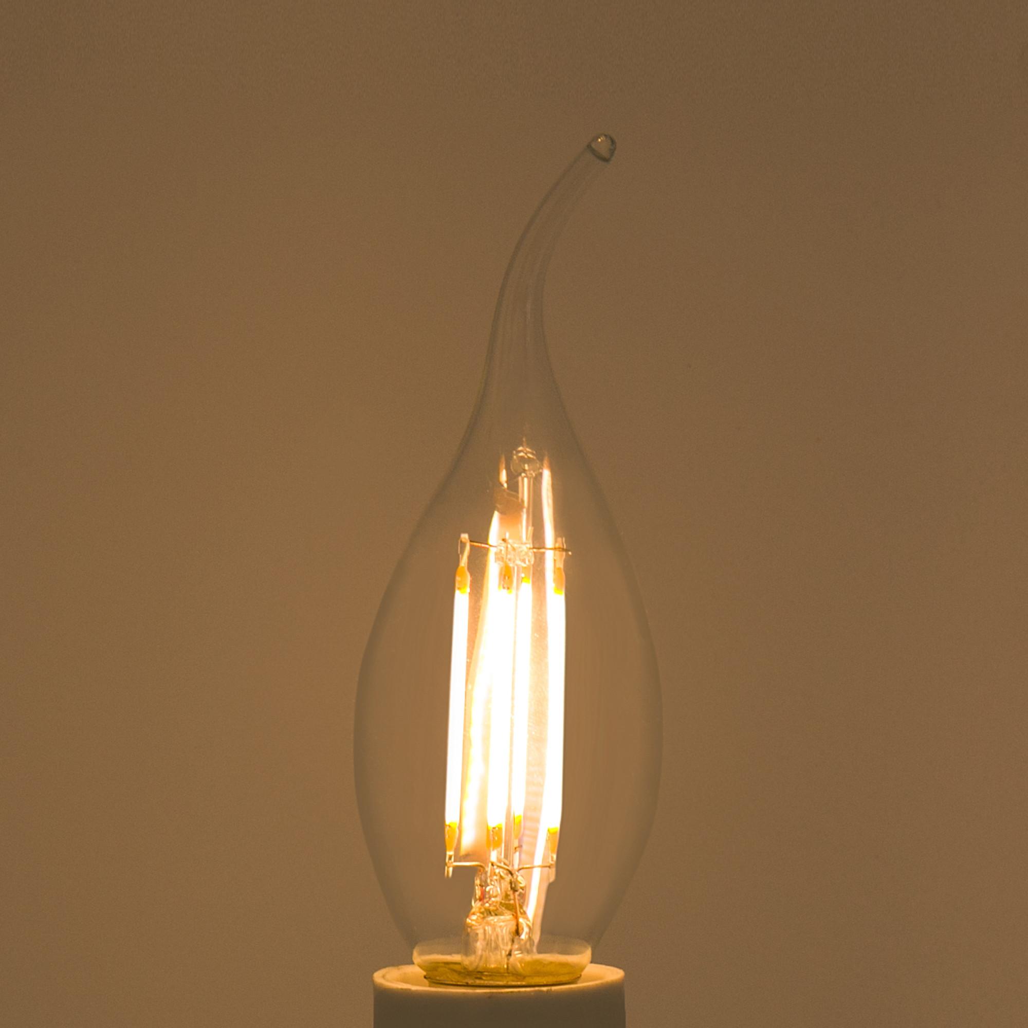 Лампа светодиодная Lexman «Свеча на ветру» E14 4.5 Вт 470 Лм свет тёплый белый прозрачная колба