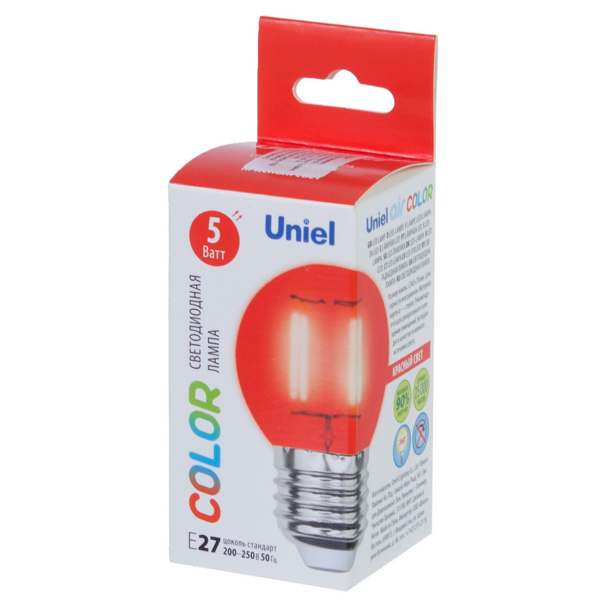 Лампа светодиодная Uniel Color шар E27 5 Вт свет красный