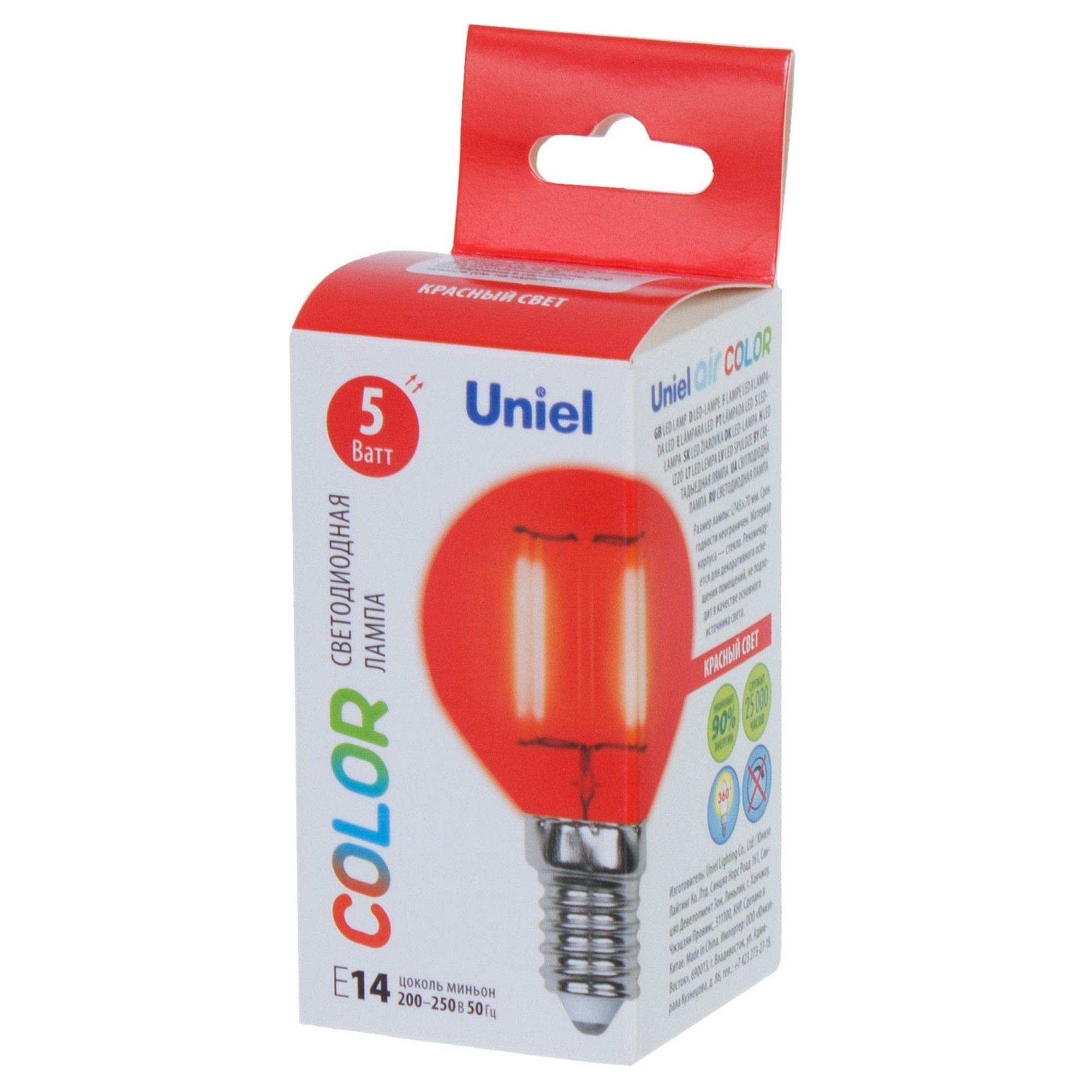 Лампа светодиодная Uniel Color шар E14 5 Вт свет красный