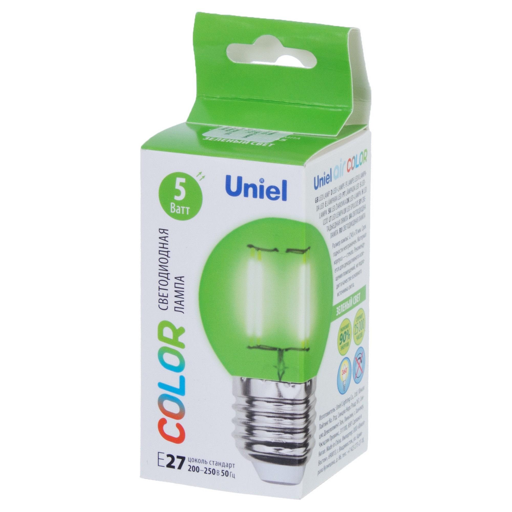 Лампа светодиодная Uniel Color шар E27 5 Вт свет зеленый