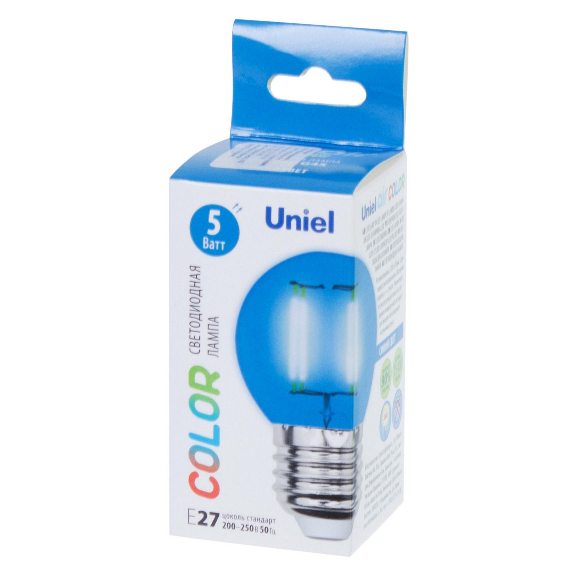 Лампа светодиодная Uniel Color шар E27 5 Вт свет синий