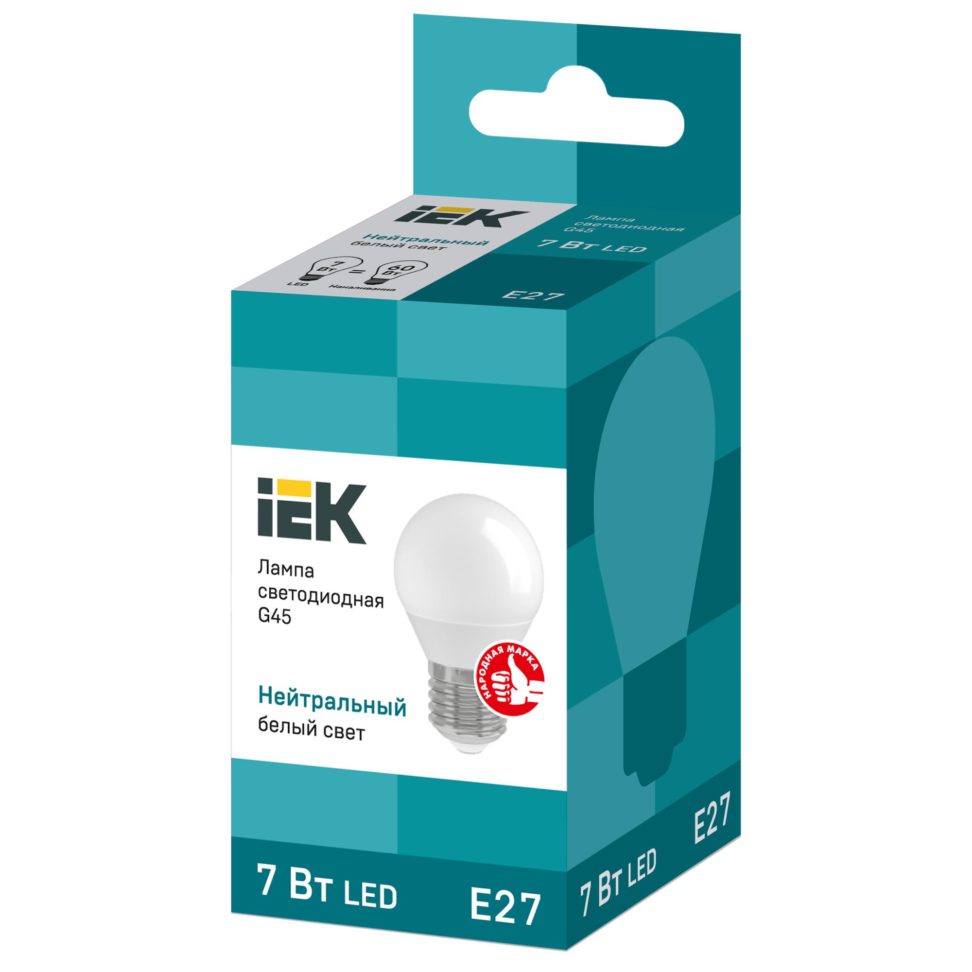 Лампа светодиодная IEK «Шар» G45 E27 7 Вт 230 В 4000 К свет холодный белый